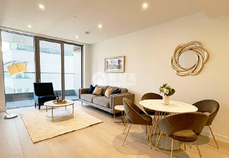 伦敦,Canary Wharf 精美一居室 拎包可住