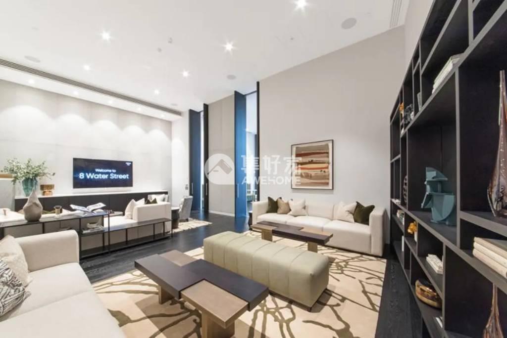 伦敦,金丝雀码头河景一居室 高端公寓 高档家具
